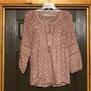 Sheer polka dotted peasant shirt